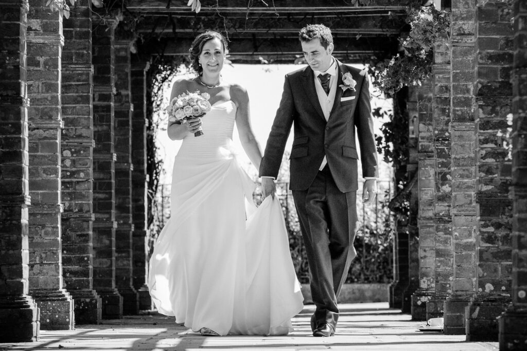 beautiful wedding photography bride and groom walking